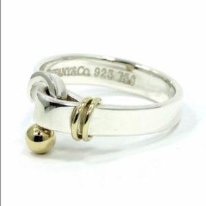 Tiffany & Co. 925 750 Gold silver hook & eye ring